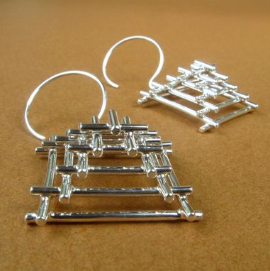 Custom Made Free Shipping Pyramid Temple Earrings In Sterling Silver