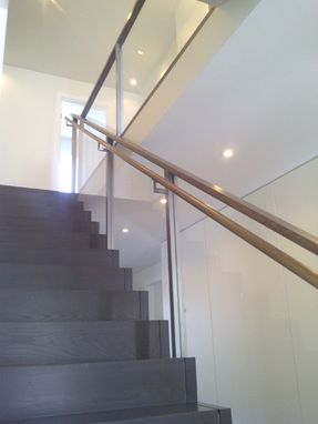Custom Made Custom Steel And Wood Stair Railing