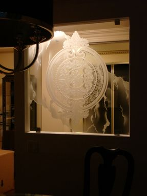 "Custom Made Etched, Carved Heavy ""Starphire"" Glass Medallion"