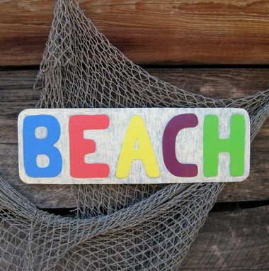 Custom Made Handmade Upcycled Metal Beach Sign Wall Decor