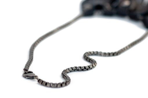 Custom Made Assymetrical Necklace In Black Leather With Silver Rivets, Extra Long