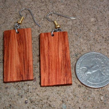Custom Made Wood Earrings Of Bubinga, Lightweight..L022
