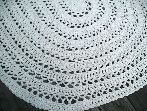 Custom Made Oval Shape Rug In Ecru Off White Cotton 4 X 6 Foot