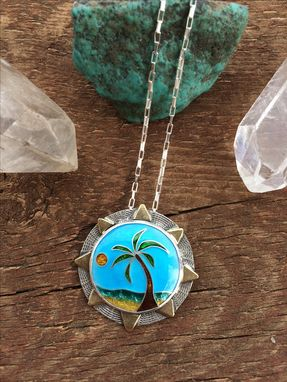 Custom Made Cloisonne Enamel Necklace, Cloisonne Enamel Tropical Necklace, Cloisonne Enamel Beachscene