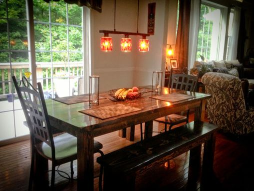 Custom Made Farmhouse Table | Solid Wood Farmhouse Dining Table | Farmhouse Kitchen Table | Rustic Harvest Table
