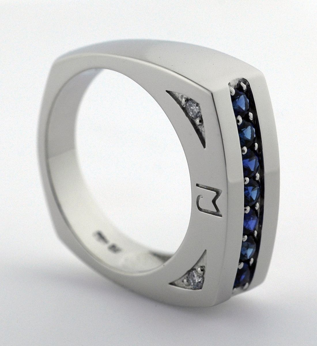 White Gold Or Platinum Sapphire Men's Ring With Initials