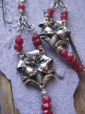 Custom Made Sterling Silver Vintage Catholic Flower Earrings With Ruby Beads