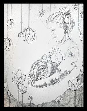 Custom Made Portrait Drawing Of Pregnant Woman From Photograph