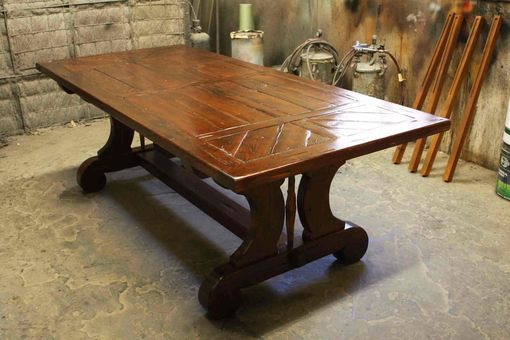 Custom Made Custom Trestle Dining Table With Leaf Extensions Built In Reclaimed Wood