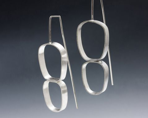 Custom Made Minimalist Sterling Silver Double Oval Asymmetrical Earrings