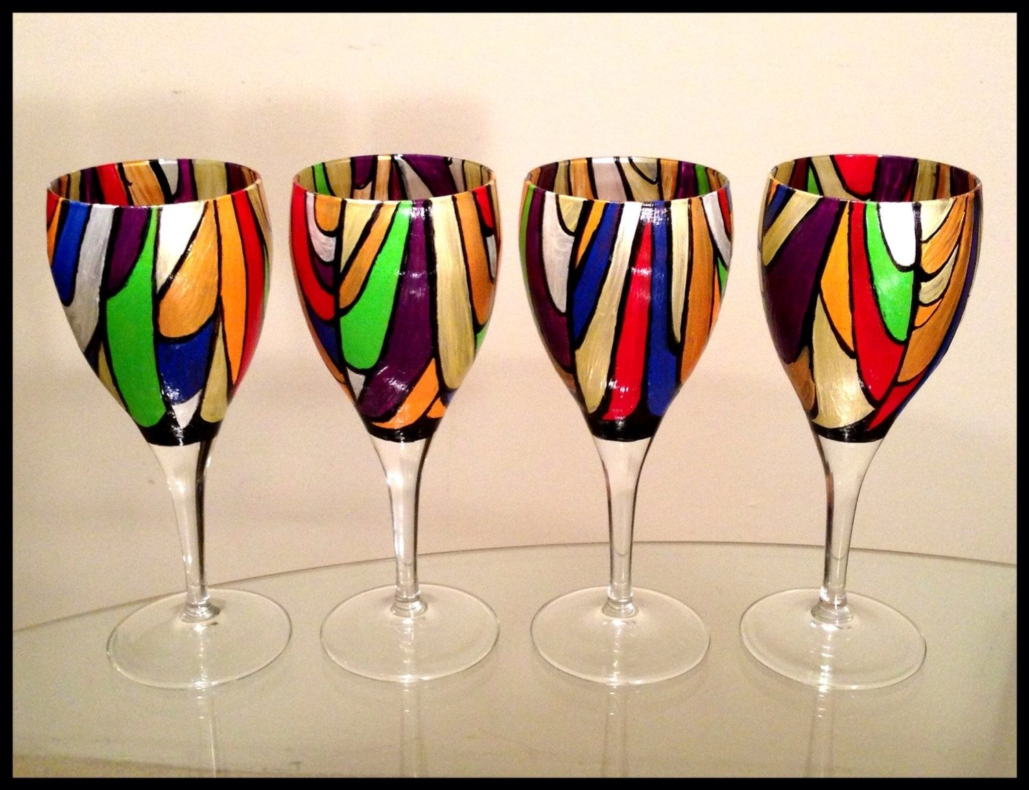 Hand crafted hand painted wine glasses abstract colorful for Cool wine glass designs