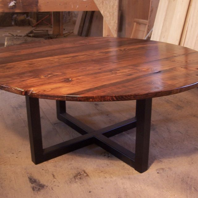 A Hand Crafted Large Round Coffee Table With Metal Base Made To Order From The Strong Oaks Wood Custommade