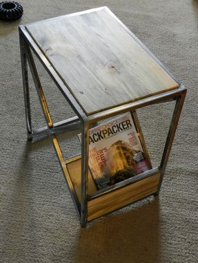 Custom Made Beetle Kill End Table With Magazine Rack