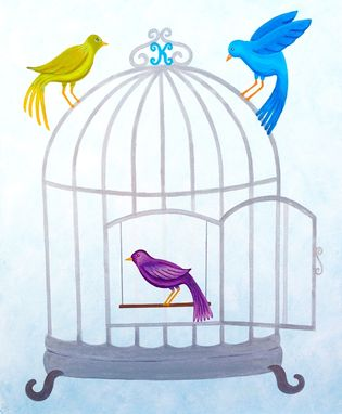 Custom Made Bird Cage, Child Or Nursery Art / Kids Wall Art Painting (Not A Print)