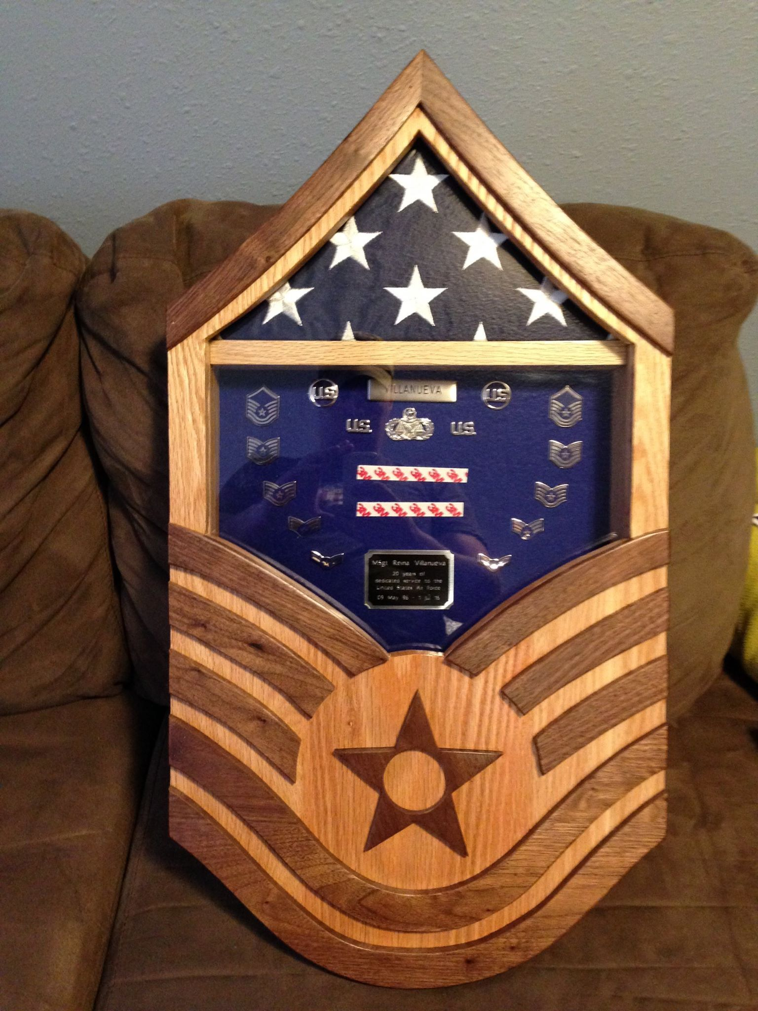 Handmade Air Force Master Sergeant Shadow Box By Stars And