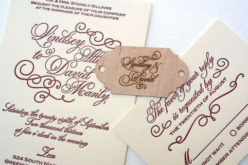 Custom Made Letterpress Calligraphy Wedding Invitation With Wood Monogram Tag, Laser Engraved