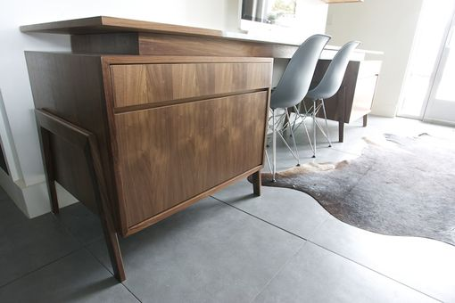Custom Made Mid Century Inspired Walnut And Marble Desk And Home Office