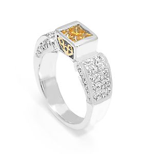 Custom Made Yellow Sapphire And Diamond Ring In 14k White & Yellow Gold, Engagement Ring, Colored Stone