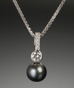 Custom Made Black Pearl And Diamond Pendant