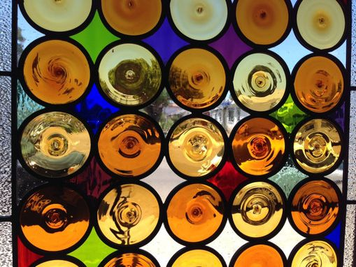 Custom Made Roundels Wine Glass Bottoms Stained Glass Window