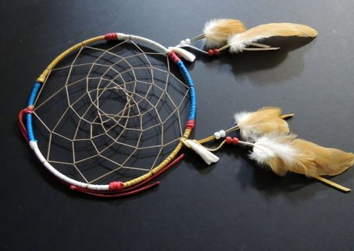 "Custom Made 9"" Dream Catcher, Genuine Buffalo Teeth, Turquoise, Gold, White, Red Deerskin Leather, Native American Decor"