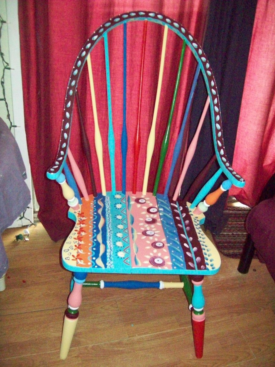 Custom Made Dining Room Antique Arm Chair Handpainted Multi Colored