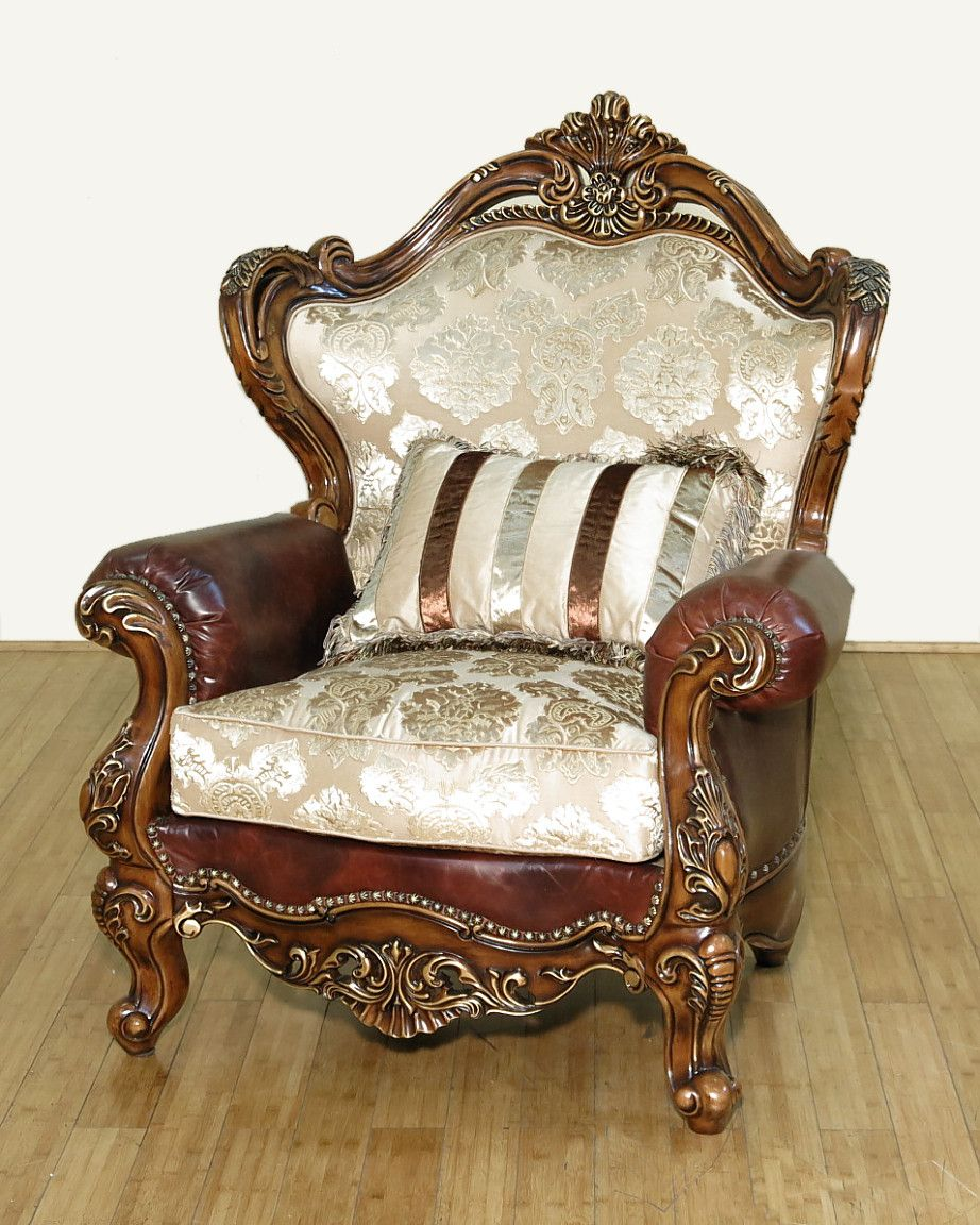 Custom Made Normandy Antique Cherry Jacquard/Leather Ornate Carved Arm Chair  W/ Pillow - Buy A Hand Made Normandy Antique Cherry Jacquard/Leather Ornate