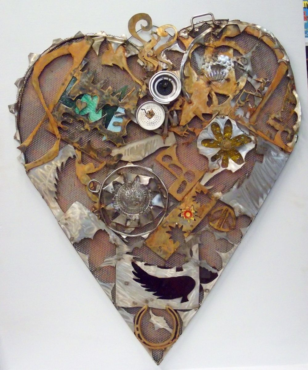 Handmade Home Decor Sign Recycled Art Heart Wall Art By