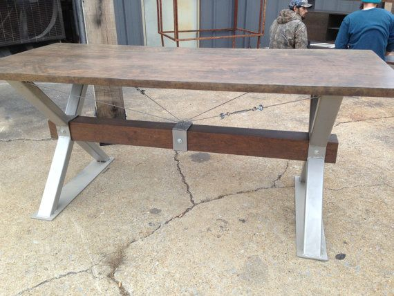 Custom Made Industrial Farmhouse Coastal Cherry Driftwood Finish Desk Dining Table