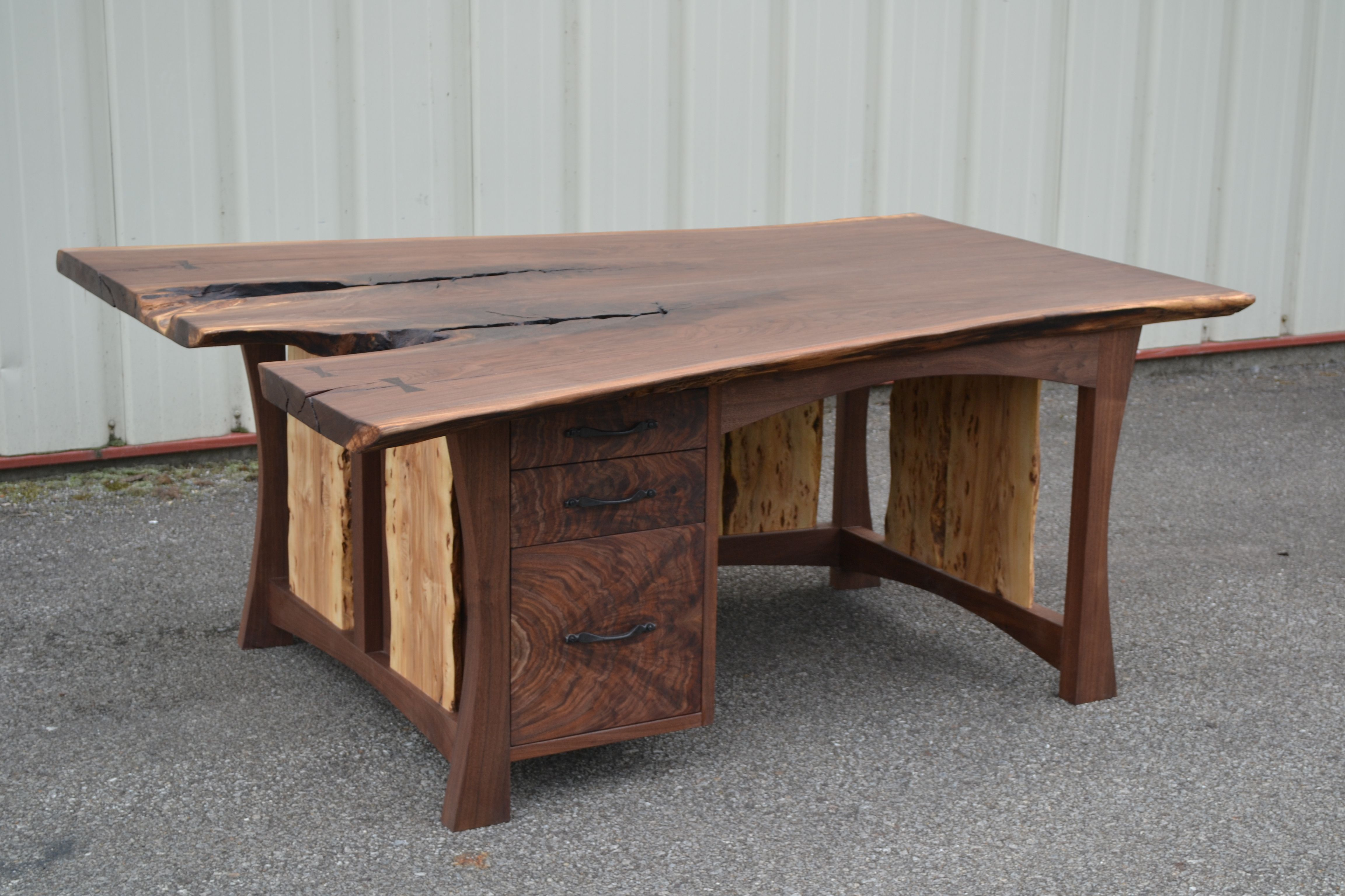 Hand Crafted Live Edge Walnut Executive Desk By Corey
