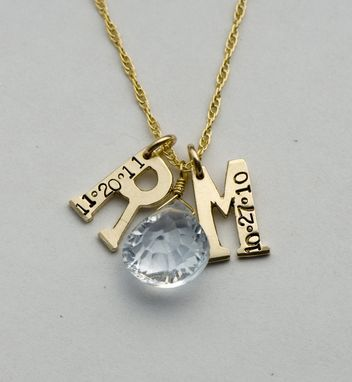 Custom Made Initial Charms With Birth Dates And A Diamond Heart