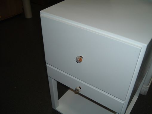 Custom Made White Lacquered Desk And Cabinet Set