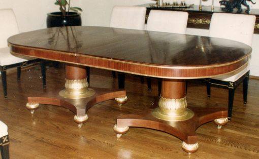 Custom Made A Regal Dining Table In Mahogany With Gilded Pedestal & Trim