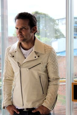 Custom Made Monaco Leather Jacket In Medium-Weight Calf Leather Ivory Color - Custom