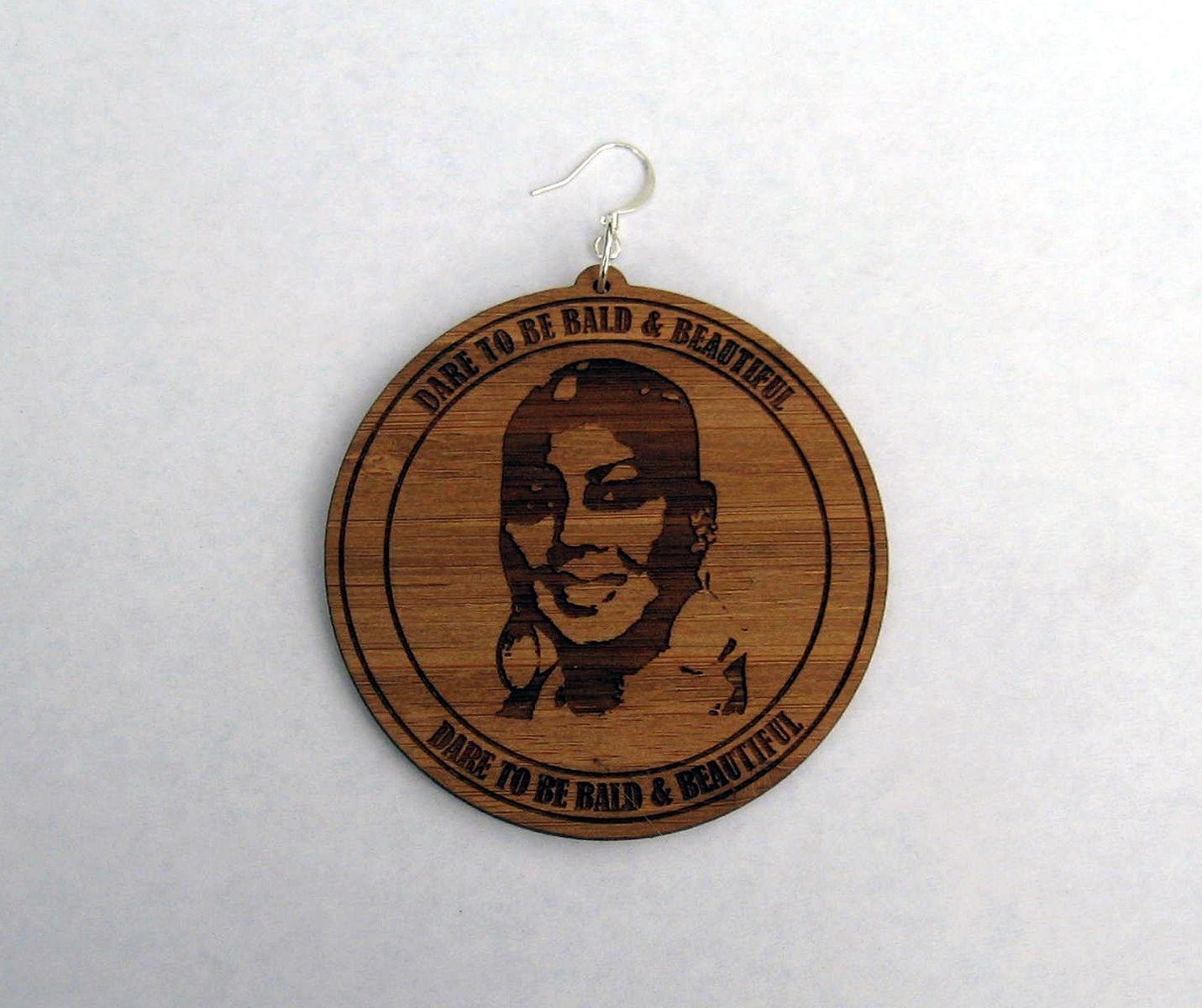 Custom Made Laser Engrave Bamboo Earrings