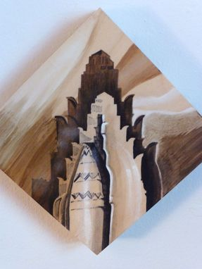 Custom Made Nyc Art Deco Painting Of The Waldorf Hotel On Responsibly Sourced Birch Wood Panel