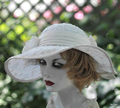Custom Made Wide Brim Elegant Hat Lace Bridal Wedding In A Vintage Style