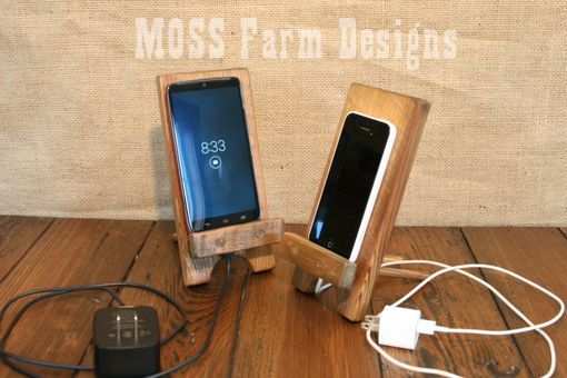 Custom Made Adjustable Reclaimed Wood Rustic Phone Dock Iphone Stand Charging Station Droid Holder