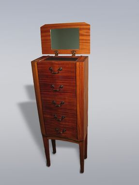 Custom Made Striped Mahogany Jewelry Armoire