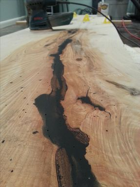 Custom Made Live Edge Slab With Butterfly Inlay