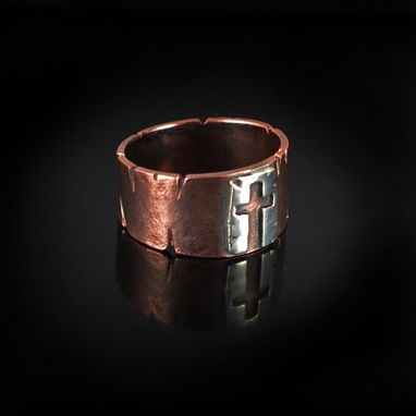 Custom Made Copper And Silver Cross Ring