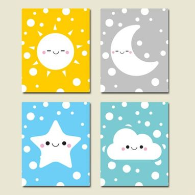 Custom Made Nursery Happy Weather Canvas Art Wall Decoration Set Of 4