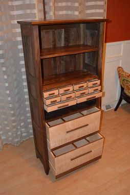Custom Made Solid Figured Walnut And Curly Maple Dresser, File Cabinet / Bookcase W/ 12 Drawers