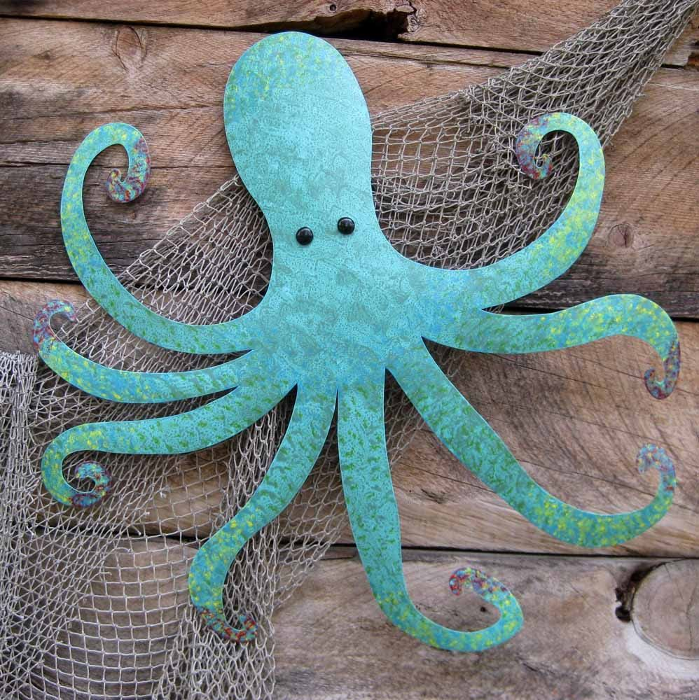 Handmade Large Metal Octopus Wall Sculpture Ocean Wall Decor Teal ...