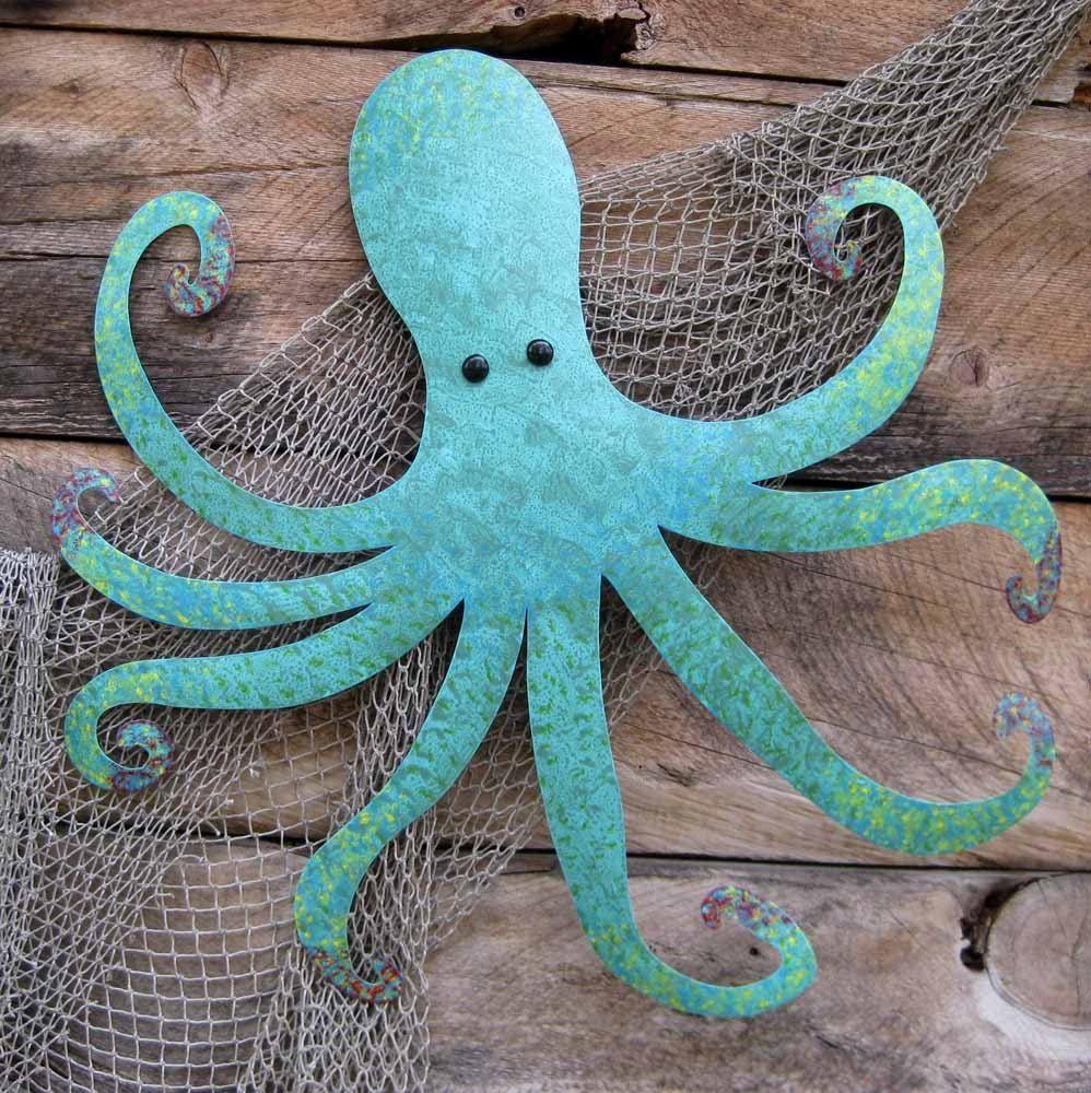 Blue Metal Wall Decor Interesting Handmade Large Metal Octopus Wall Sculpture Ocean Wall Decor Teal 2018