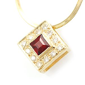 Custom Made Garnet And Diamond Square Pendant In 14k Yellow Gold, Diamond Pendant, January Birthstone Pendant