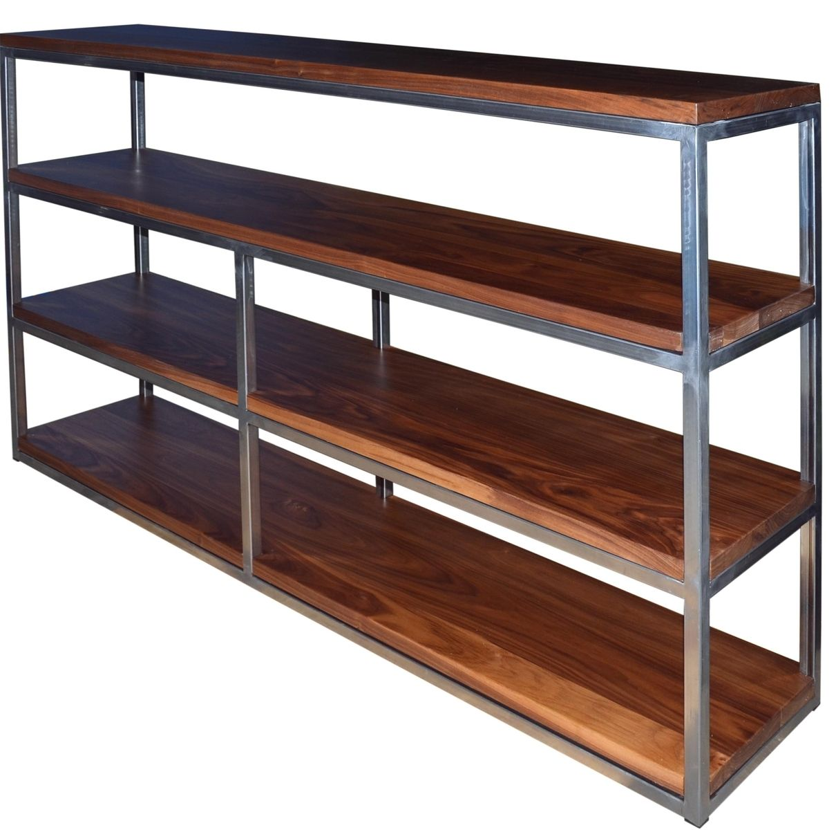 handmade floating walnut wood and steel shelf by fabitecture. Black Bedroom Furniture Sets. Home Design Ideas