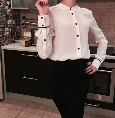Custom Made White Blouse With Black Buttons
