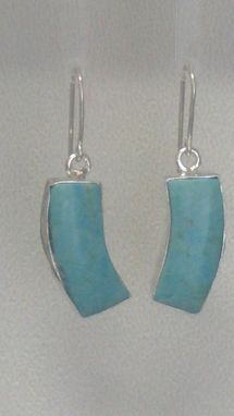 Custom Made Sterling Silver Inlaid Stone Earrings - Turquoise
