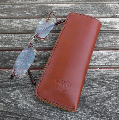 Custom Made Garny No.23 - Leather Eye Wear Case - Deerskin Lined - Chestnut Brown